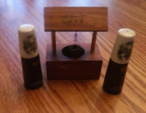 Vintage Wooden Wishing Well And Salt And Pepper Shakers From Catskill Game Farm