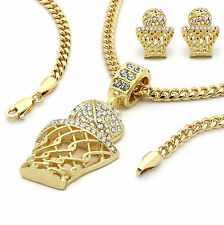 "Men's 14K Gold Plated Basket ball Pendant & Earrings Hip-Hop 3mm 30"" Cuban Chain"