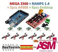 Mega 2560 R3 + RAMPS 1.4 Control Panel + 5pcs A4988 Stepper + 6pcs Endstop