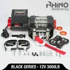 12v Electric Winch, 3000lb Heavy Duty, ATV, Trailer, Boat Recovery ~ RHINO BLACK