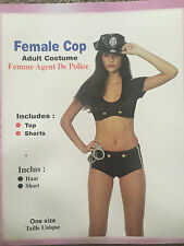 ADULT 2PC SEXY FEMALE COP POLICEWOMAN COSTUME, FANCY DRESS, ONE SIZE