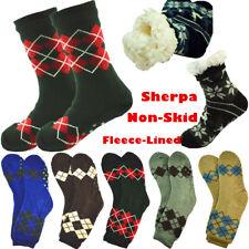 Mens Cozy Fuzzy Thick Sherpa Fleece Lined Grid Knit Non-Skid Slipper Socks LOT