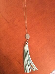 "NEW 28"" GOLDTONE NECKLACE WITH JADE BEAD & LEATHER TASSEL TRIM"