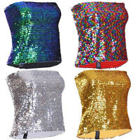 Sequin Stretchy Sexy Boob Tube Festival Dance Rave Hen do Night Ladies Girls