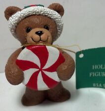 1990's Hallmark Ambassador Christmas Figurine Bear holding Xmas Candy w/xmas hat