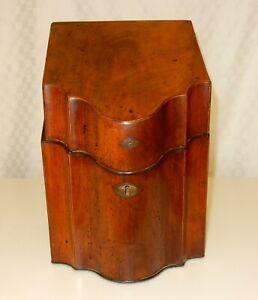 Antique Georgian George III Mahogany Knife Box Converted to Stationary Box