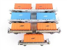 HOe Scale Lot of 5 Bemo RhB Rhaetian European Railway Flat Cars w/ Containers