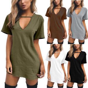 Womens Ladies V Neck Plain Mini Dress Summer Short Sleeve Casual T-Shirt Dresses