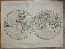 LARGE HYDROGRAPHIC WORLDMAP CALIFORNIA AS AN ISLAND 1652 N. SANSON ANTIQUE MAP