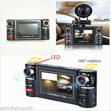 "12V 2.7"" HD 1080P Dual Lens Car Dash Camera DVR Cam IR Night Vision Recorder Kit"