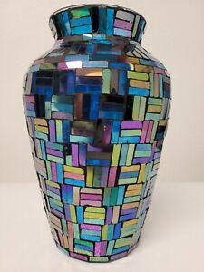 Large Multi Colored Mosaic mirror Glass Vase 10 inTall very cool and unique!!