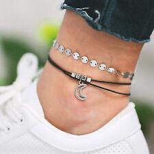 Beach Hollow Bracelet Foot Chain New 2Pcs/Set Boho Moon Pendant Anklet Sequins
