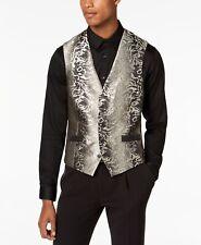 $145 Inc Men'S Black Gold Slim Fit 5 Button Suit Vest Waistcoat Xl