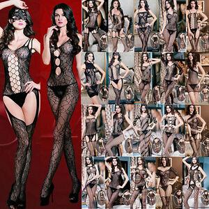 Hot Pattern Lingerie Body Stockings Fish Net Babydoll Dress Bodysuit Muti-styles