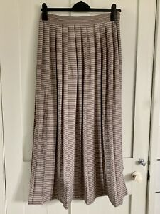 REISS Sienne Maxi Skirt Size 12 Stripe Pleated Silky Smart Summer Holiday Office
