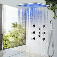 16/'/' Wall Mount Thermostatic Shower System Rain LED Shower Head Sprayer Chrome