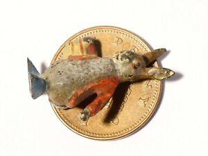Antique Cold Painted Bronze Miniature Rabbit Red Jacket Beatrix Potter #118F