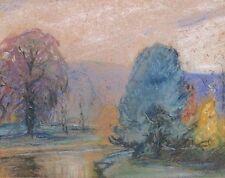 Walter E Baum Bucks County Impressionist Pastel Signed Landscape Drawing
