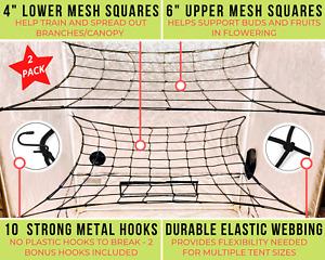 SCROG NET 4x4 5x5 2-Pk Flexible Elastic Plant Support Grow Tent Trellis Netting