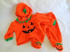 Infant Pumpkin Costume Size 6M 2 Piece Pants Hooded Top Halloween Its The Thing