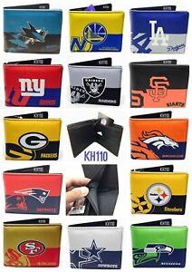 NFL,MLB,NBA,NHL Team Mens Printed logo Leather Bi-fold Wallet