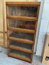 More details for oak globe wernicke 5 tier barristers stacking bookcase - genuine vintage antique