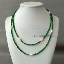 2 Rows Natural 4mm Faceted Emerald & 6-7mm White Rice Pearl Necklace 17-18'' AA