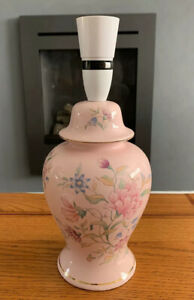 VINTAGE PINK TABLE LAMP WITH FLORAL DESIGN
