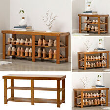 3 Tier Wooden Shoe Bench Rack Table Storage Shelf Shoes Organiser Cabinet Seater