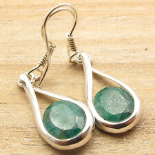 """Plated Simulated Emerald Earrings 1 3/4"""" Jewelry That Fits Your 925 Silver"""