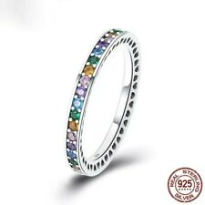 Sterling Silver Rainbow CZ Eternity Ring Multi Colour Channel Set New UK