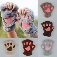 Frauen Katze Klaue Tatze Plüsch Handschuh kurze Fingerlose Handschuhe Halfbgl JM
