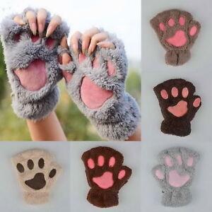 Winter Women Cat Claw Paw Plush Mitten Short Fingerless Gloves Half Finger Y_MO