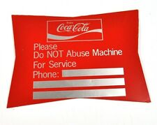 Coca-Cola Coke USA Automates autocollants Decal - Do NOT Abus Machine