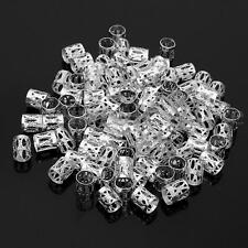 100pcs 8mm Silver Dreadlock Beads Dread Hair Braid Adjustable Cuff Tube Clip
