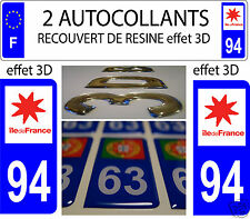 2 STICKER RECOUVERT DE RESINE PLAQUE IMMATRICULATION DEPARTEMENT VAL DE MARNE 94
