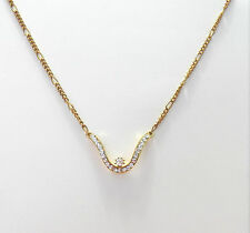& A Figaro Yellow Gold Tone Chain Very Lovely Necklace With Clear White Crystals