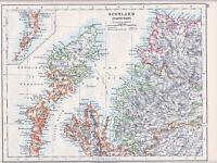 1912 MAP ~ SCOTLAND NORTH WEST ~ HEBRIDES INVERNESS ETC
