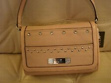 NEW WT Guess Purse Hand Bag Tote Pink leather like Rhinestone Disco Queen  $98