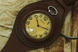 Vintage Military Pocket Watch Molnija 18j WWII Style New Leather WWII Wristband