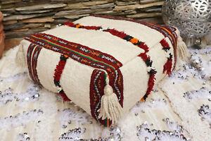 Moroccan Handmade Kilim Handira Wedding Blanket Tassel Floor Pillow Ottoman Pouf