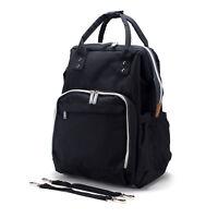 Mom & Dad Backpack Diaper Bag Wide Travel Organizer w/Stroller Straps, Black