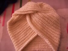 BONNET TURBAN BEIGE FAIT MAIN