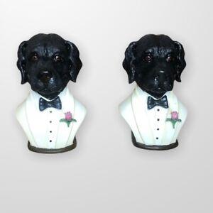 "Vintage Bookend Anthropomorphic Dog In White Tuxedo Black Labs Art Deco 7"""