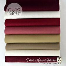 "Berries n Cream Felt Collection, Merino Wool Blend Felt, EIGHT 9"" X 12"" Sheets"