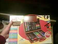 New. Art Set 86 Pc w/ Wood Case - Paint Crayon Markers Glue Ruler & More