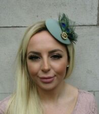 Sage Green Gold Green Peacock Feather Hat Fascinator Hair Clip Small Races 0718