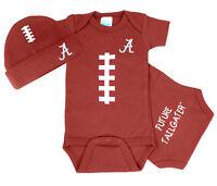 Alabama Crimson Tide Brown Football Bodysuit and Cap Baby Set