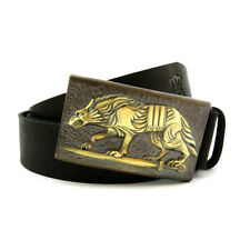 "Leather belt with handmade brass buckle ""Werewolf""; Leather belt with wolf"