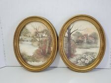 Homco Home Interior 2 Pictures Gold Oval Frame House Lake Water Vintage F Massa